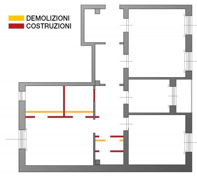 Dal bagno lungo e stretto ricavare la cabina armadio con - Progetto cabina armadio ...