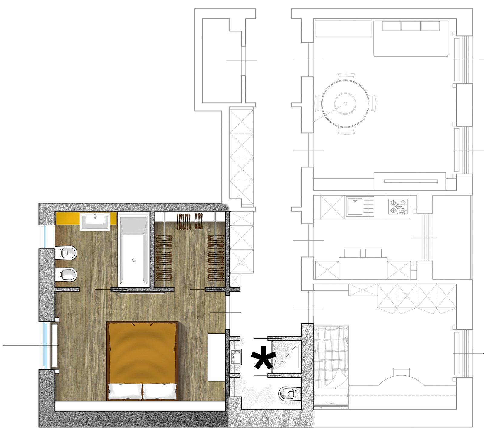 Dal bagno lungo e stretto ricavare la cabina armadio con i costi cose di casa - Planimetria camera da letto ...