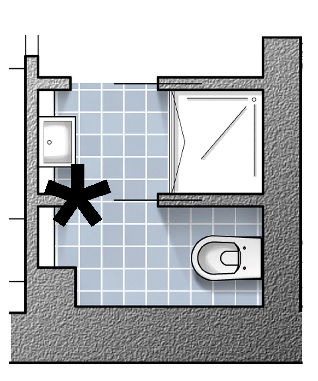Dal bagno lungo e stretto ricavare la cabina armadio con for Piccoli piani di casa cabina di log