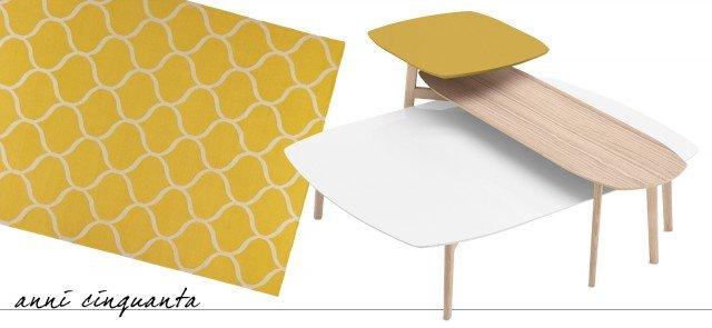Match di Calligaris è un set di tre tavolini con la struttura in legno di frassino e il piano in multimateriali (agglomerato di quarzo con finitura effetto marmo, mdf laccato opaco e mdf impiallacciato di legno); le differenti altezze consentono di sovrapporli per creare una composizione, inoltre è disponibile anche un modello a doppio piano. Misurano L 100 x P 135 x H 31 cm e L 56 x P 152 x H 42/53 cm (il tavolo a doppio piano). Il prezzo per la composizione è 844 euro. www.calligaris.it. É decorato da un motivo a rete su fondo senape il tappeto di Ikea Stockholm, la tessitura piatta in lana lo rende resistente allo sporco e all'usura; è reversibile. Misura L 240 x P 170 cm. Il prezzo è 159 euro. www.ikea.it