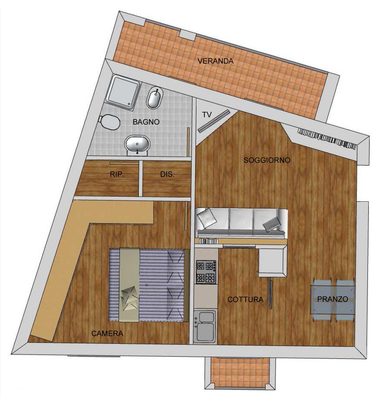 Arredare angolo cottura e soggiorno trendy come arredare for Planimetrie di casa molto piccole