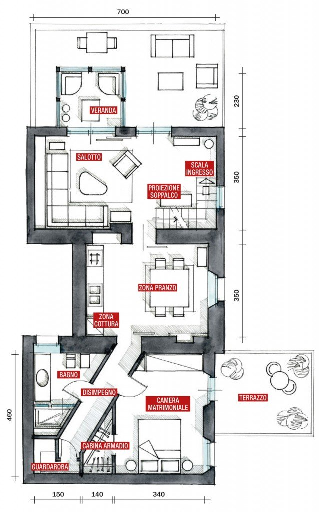 70 mq casa con veranda cose di casa for Pianta casa 70 mq