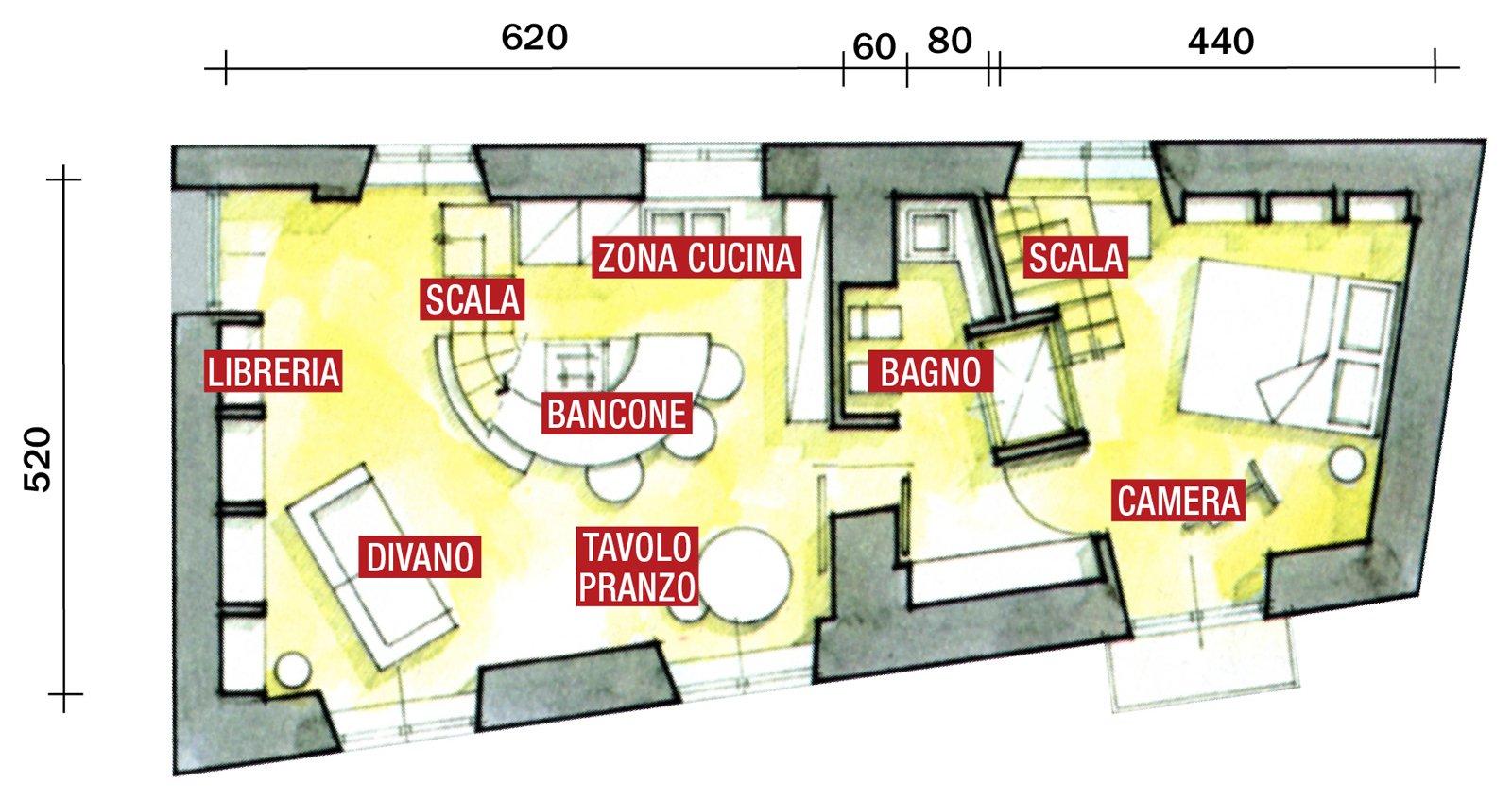 Casa piccola 43 mq soppalco per studio e cabina armadio for Piani casa 3 camere da letto e garage doppio