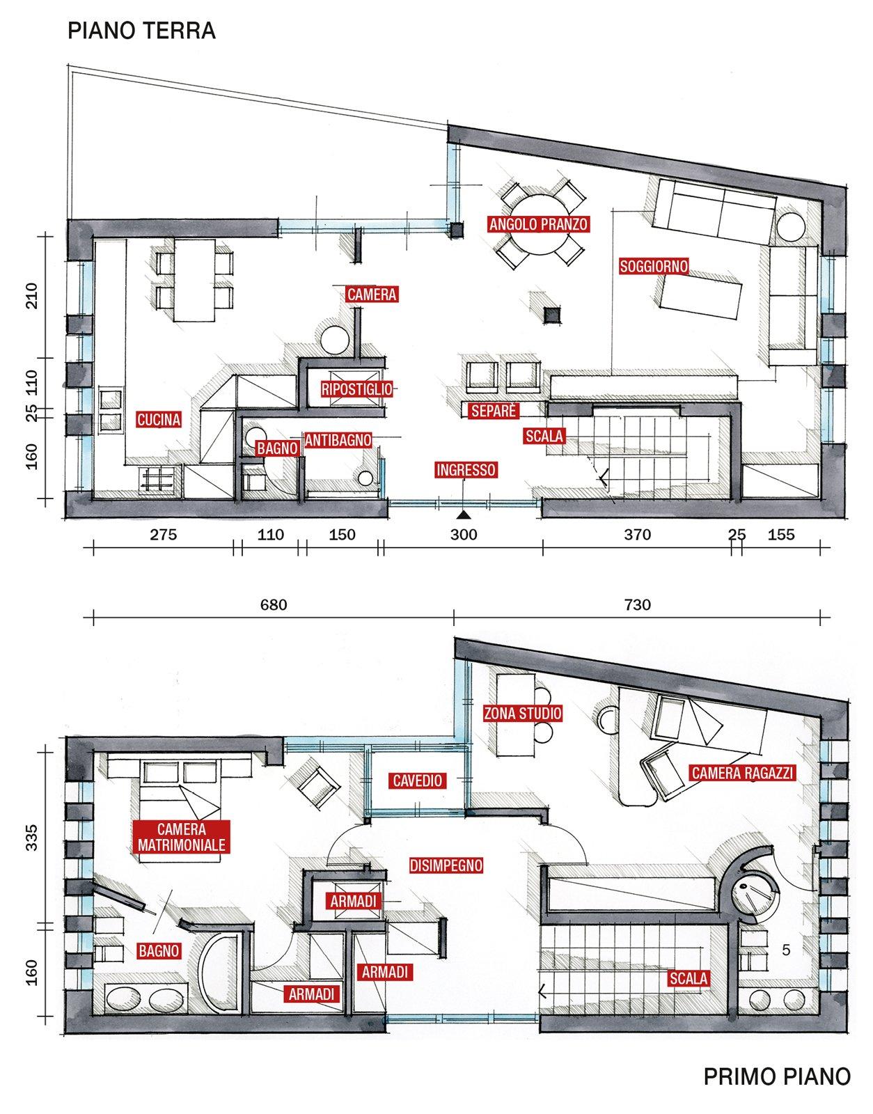Una casa con soluzioni che moltiplicano la luce cose di casa - Disegno pianta casa ...
