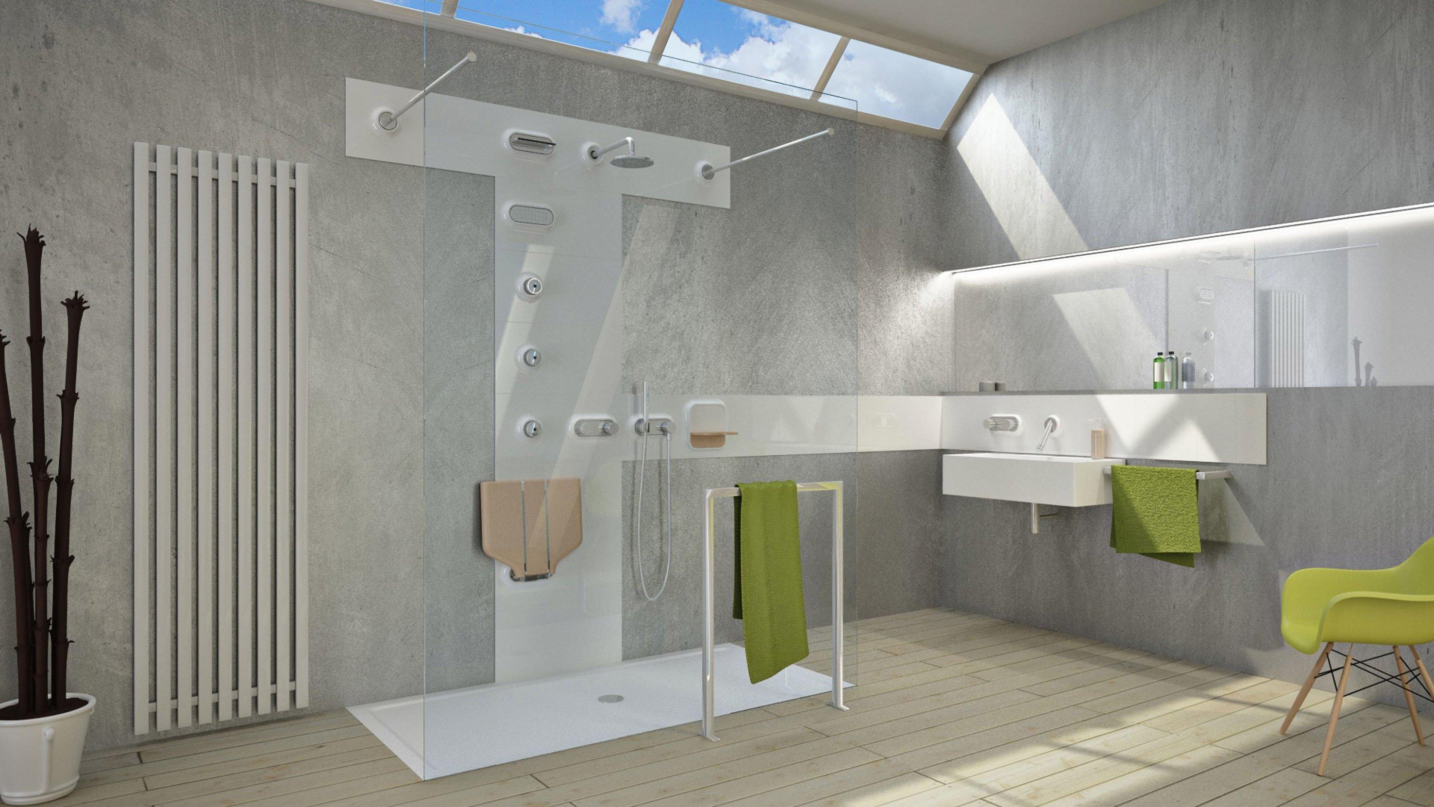Glass propone modula piastrelle attrezzate con rubinetteria o mensole cose di casa - Composizione piastrelle bagno ...
