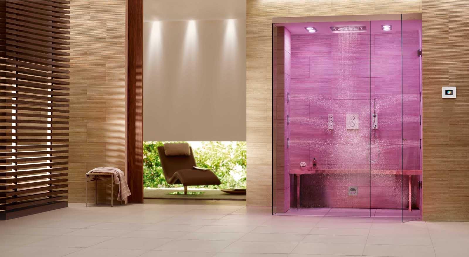 Doccia soffioni per il benessere anche con musica e cromoterapia cose di casa - Illuminazione doccia con led ...