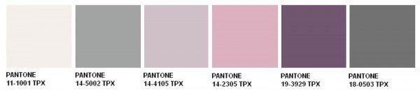 Ecco la palette con le tinte proposte da Pantone. Si va dal grigio ...