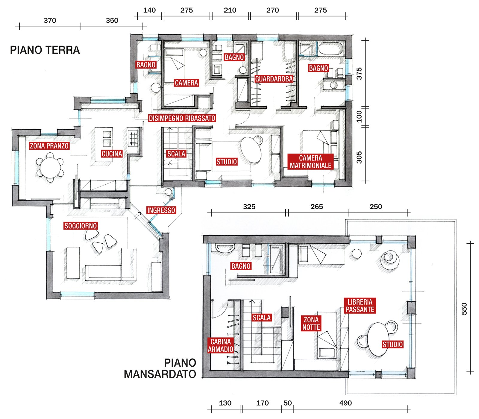 Una casa arredata con pezzi di design e finiture di for Piante case moderne