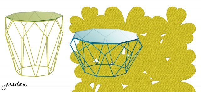 Precious di Roche Bobois ha la struttura realizzata con un filo di acciaio (diametro 6 mm) giallo o turchese abbinato al piano in vetro temperato colorato in gradazione. Misurano L 55 x P 55 x H 55 cm e L 67 x P 67 x H 36 cm. Il prezzo è 840 euro. www.roche-bobois.com. Una serie di corolle stilizzate per Trefle di Fermob il tappeto in fibra Pvc Bolon in grado di resistere ai raggi solari e alle intemperie; è facile da pulire, basta lavarlo con acqua e sapone, ed è garantito un anno. Misura L 200 x P 200 cm. Costa 810 euro. www.fermob.com