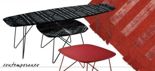 Il tavolino Ink di Zanotta ha le gambe di acciaio laccato e il piano in medium density fiberboard verniciato nello stesso colore o rivestito con un tessuto stampato con tecnica digitale e applicato con la resina. É disponibile in due formati. Il modello verniciato rosso misura L 60 x P 60 x H 35 cm e il prezzo è 610 euro, la versione in tessuto nero misura  L 160 x P 60 x H 45 cm e costa 1.525 euro. www.zanotta.it. Remake Red di Sitap è formato da un'alternanza di inserti: alcuni realizzati con vecchi tappeti in lana annodati a mano, altri in canapa tessuta a mano; le frange sono realizzate artigianalmente in pura lana vergine. Misura L 240 x P 160 cm e costa 1.079,32 euro. www.sitap.it