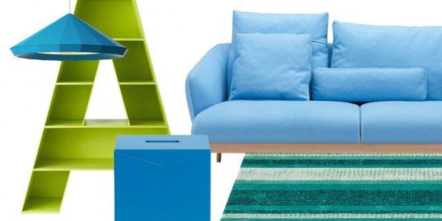 Soggiorno in verde e azzurro. Per un'estate di 365 giorni