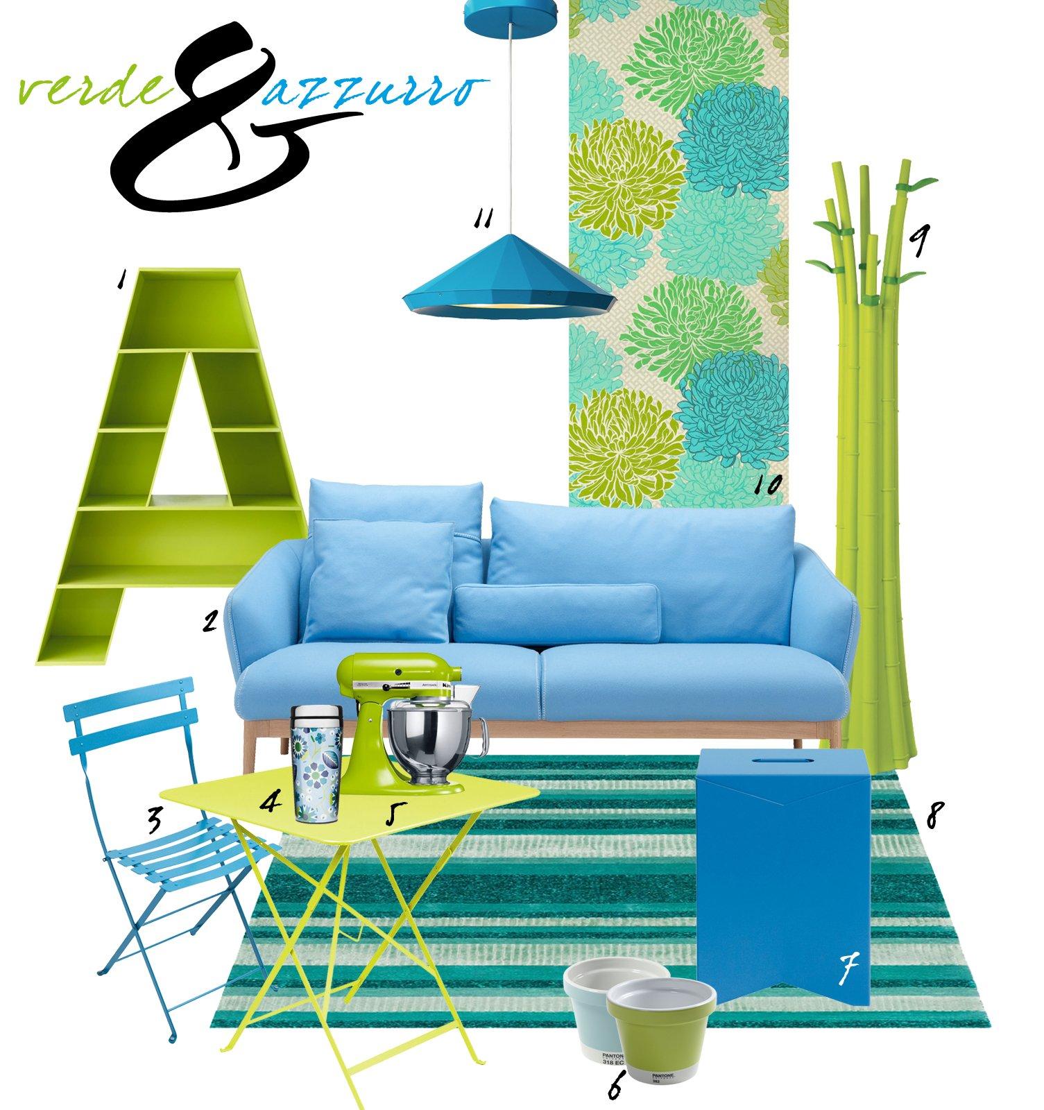 Soggiorno in verde e azzurro per un 39 estate di 365 giorni - Divano verde acido ...