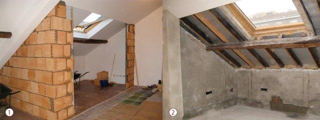 1. NUOVI MURI PERIMETRALI. I lavori iniziano con la costruzione di due spallette in muratura, che hanno la funzione di delimitare il terrazzino e di sostenere il serramento. Sono formate da due strati di mattoni all'interno dei quali sono stati posti due fogli incrociati di isolante. 2. INTERVENTI PRELIMINARI. Vengono preparate le pareti ed eliminato il tamponamento dello spiovente. Si predispone l'impianto elettrico per luci esterne a incasso e cavi della tenda elettrica; si prevede il pozzetto per lo scarico dell'acqua; si effettua la prima gettata di sabbia e cemento.