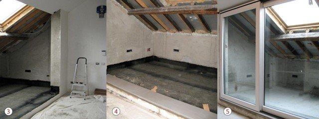 """3. IMPERMEABILIZZAZIONE. Prima di """"aprire"""" il tetto, si protegge il terrazzo dalle infiltrazioni d'acqua, con due strati incrociati di catrame. Segue una gettata di sabbia e cemento, più rete metallica, con pendenza verso lo scarico centrale. 4. IL GRADINO DEL TERRAZZO. Una volta rasate a gesso le pareti, per prepararle alla successiva messa in opera di rivestimenti, si provvede alla posa della soglia in marmo per il serramento. 5. LE ANTE SCORREVOLI. Per dare la massima luminosità alla stanza è stato scelto un grande infisso scorrevole a due ante, che misura 300x220h cm."""