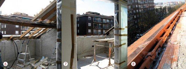6. VIA LA COPERTURA. Viene smantellata la porzione di tetto interessata, eliminando prima il lucernario, poi le tegole e l'isolante. Anche travi e travetti vengono tagliati. 7. OPERE DI FINITURA... Dopo l'apertura della falda, è prevista la sistemazione dei bordi del parapetto del terrazzo, con elementi di copertura in rame. 8. ...E DA LATTONIERE Per garantire il corretto deflusso dell'acqua piovana, vengono posati grondaie e gocciolatoi in rame a chiusura dello spazio tra tegole e muri interni.