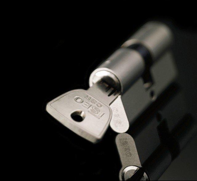 Il sistema di chiusura ha chiave reversibile che apre tutti i cilindri delle serrature di casa. Duplicati si possono produrre solo con la carta di proprietà presso i centri autorizzati. Prezzo da rivenditore. CSR di Iseo www.iseo.com