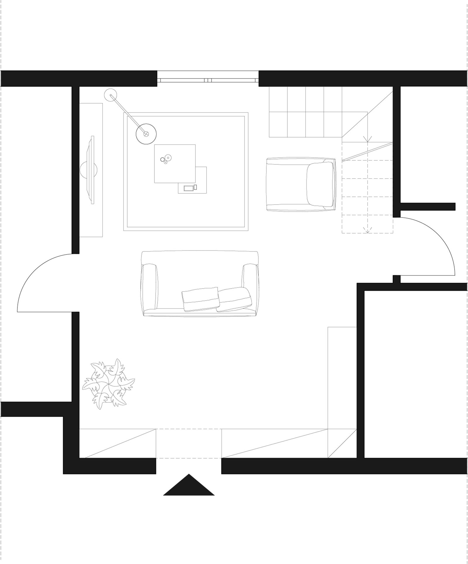 Arredare un soggiorno con tante aperture sulle pareti - Finestre in pianta ...