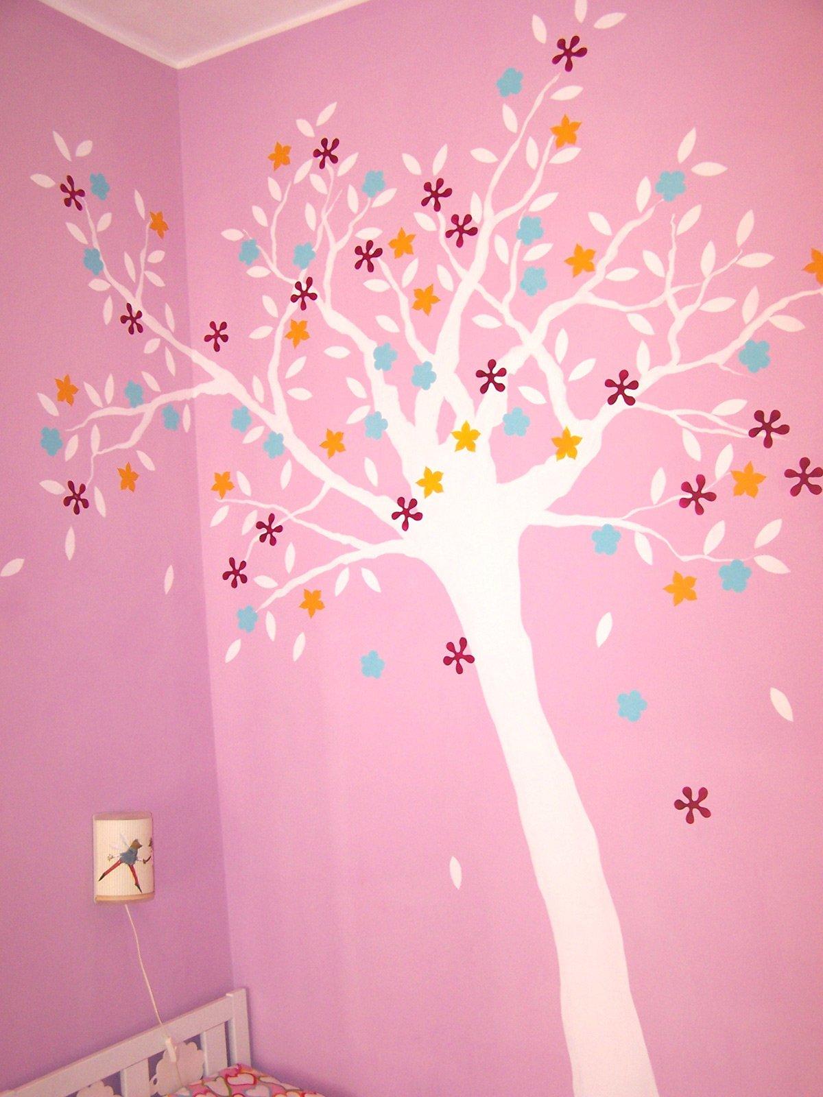 Cameretta albero decorato a parete cose di casa - Stencil albero da parete ...