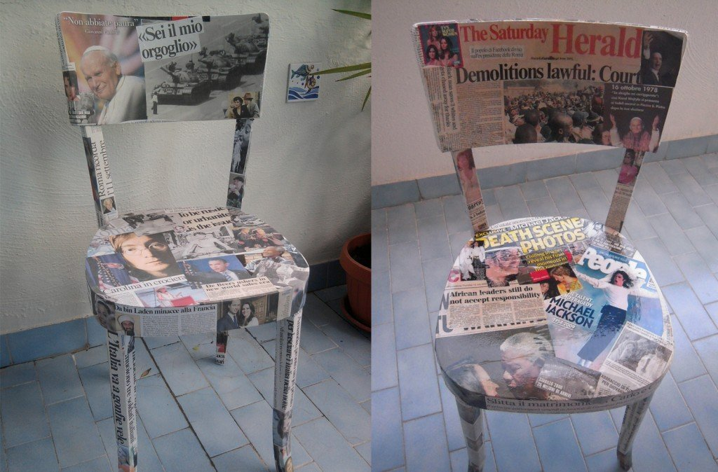 Sedie rivestite di giornali cose di casa - Carta rivestimento mobili ...