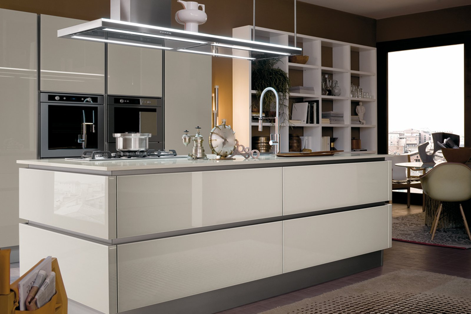 cucine in vetro con superfici a specchio. Black Bedroom Furniture Sets. Home Design Ideas