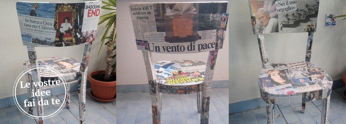 Sedie rivestite di giornali cose di casa - Decoupage su mobili vecchi ...