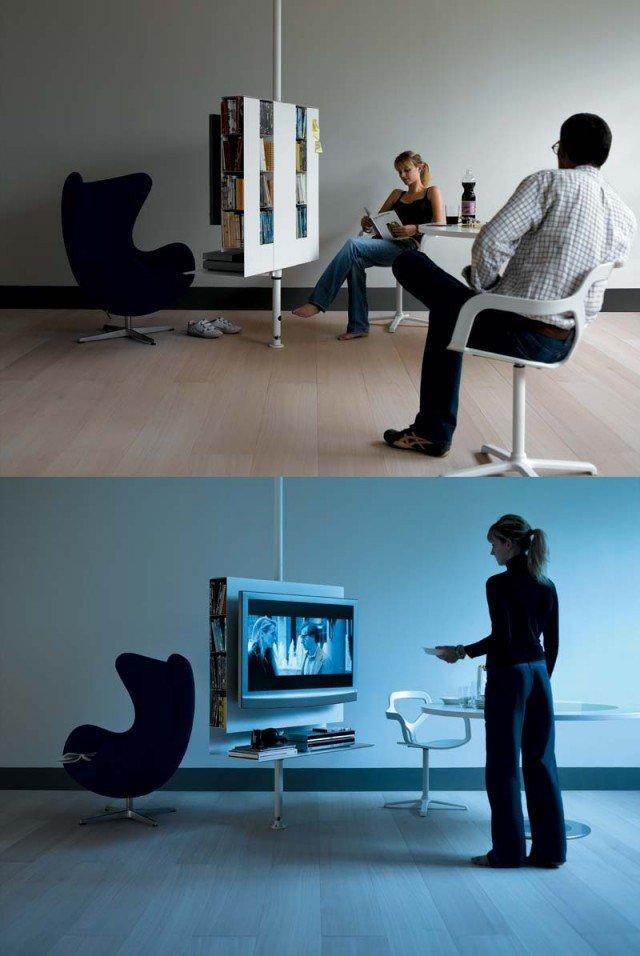 Sail di Desalto è un porta tv specifico per schermo piatto, formalmente leggero come una vela e regolabile in altezza. Struttura girevole in lamiera d'acciaio, dotata di vano alloggiamento cavi. Base con rotelle incassate unidirezionali. Finitura grigio antico, bianco opaco e nero opaco. Può contenere sino a 160 DVD oppure 220 CD. Il porta TV è posizionabile fra un altezza minima di 125 cm ed una massima di 145 cm. Portata massima TV: 50 Kg. Il prezzo è comprensivo di un kit per l'aggancio dello schermo. Disponibile in tre dimensioni: Sail 312: L 100/120 x P 40 x H 125/145 cm - Sail 313: L 100/120 x P 40 x H 230/325 cm. Sail 314: L 100 x P 40 H 95/115 cm. Prezzo1.615 euro. www.desalto.it