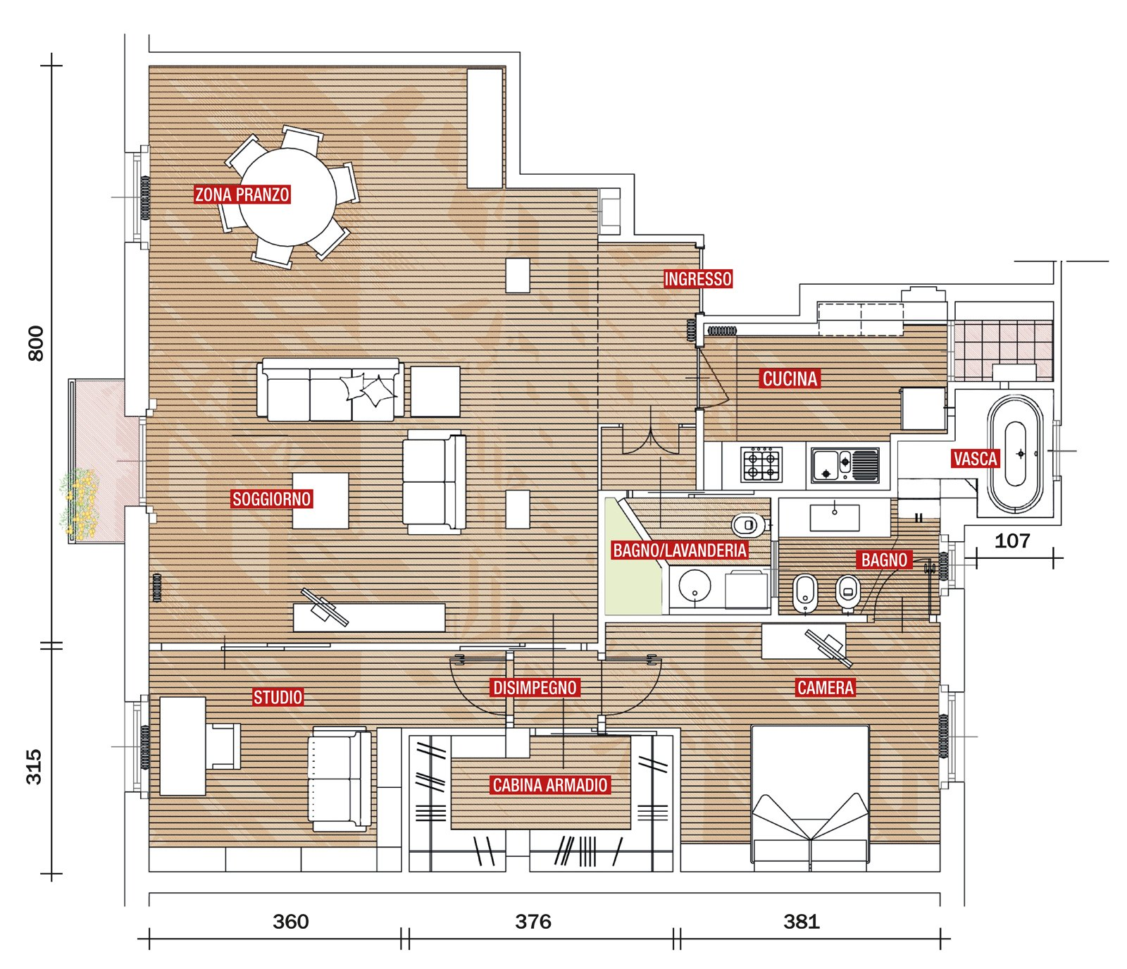 Percorsi ridisegnati per una casa pi vivibile cose di casa for Grande planimetria della camera singola storia