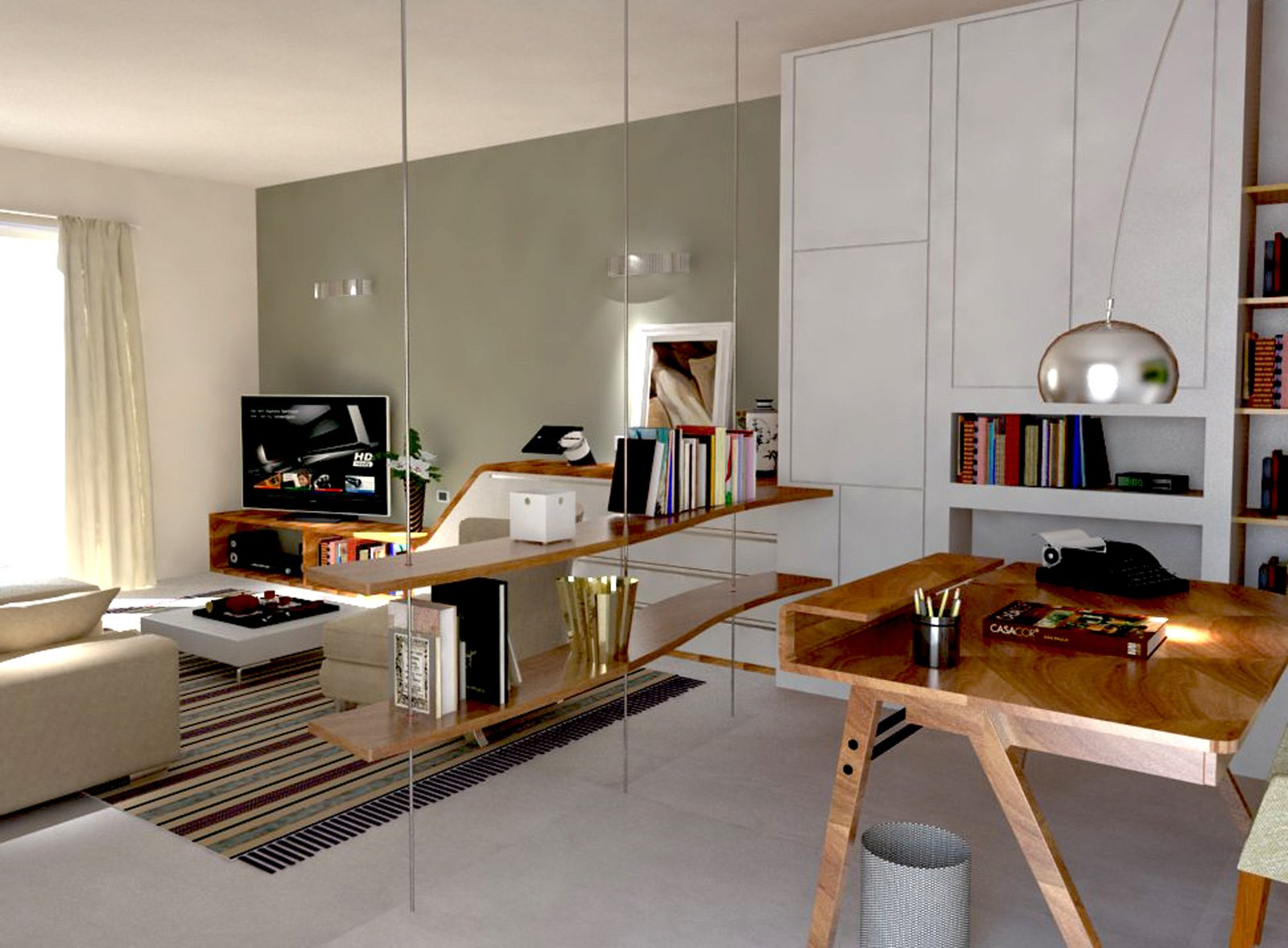 ricavare in soggiorno una zona studio e tanto spazio per