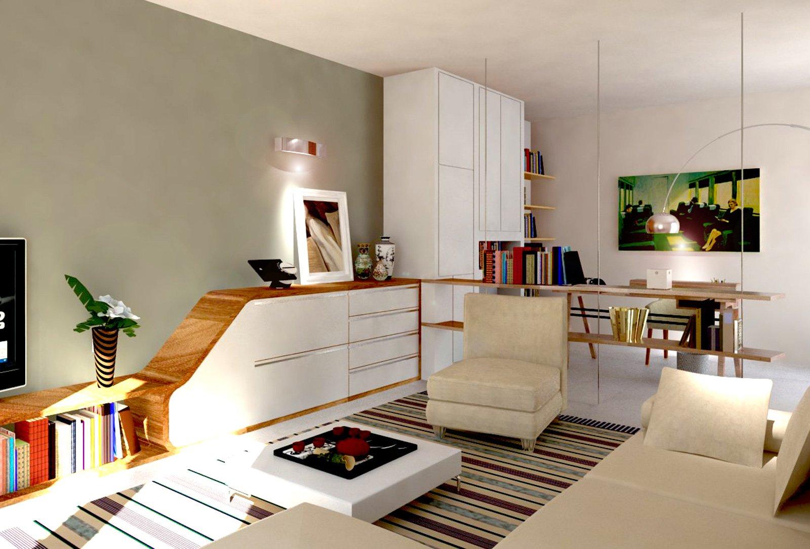 Ricavare in soggiorno una zona studio e tanto spazio per for Salotto e soggiorno