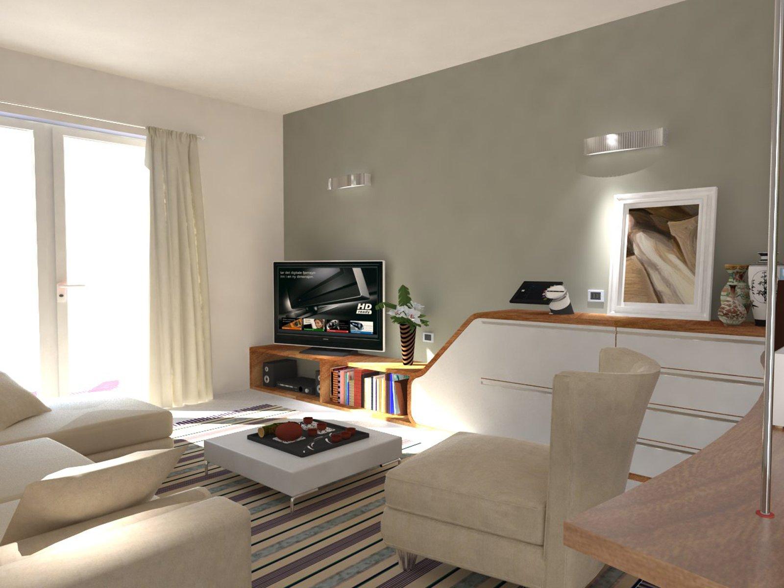 Ricavare in soggiorno una zona studio e tanto spazio per - Altezza mobile tv ...