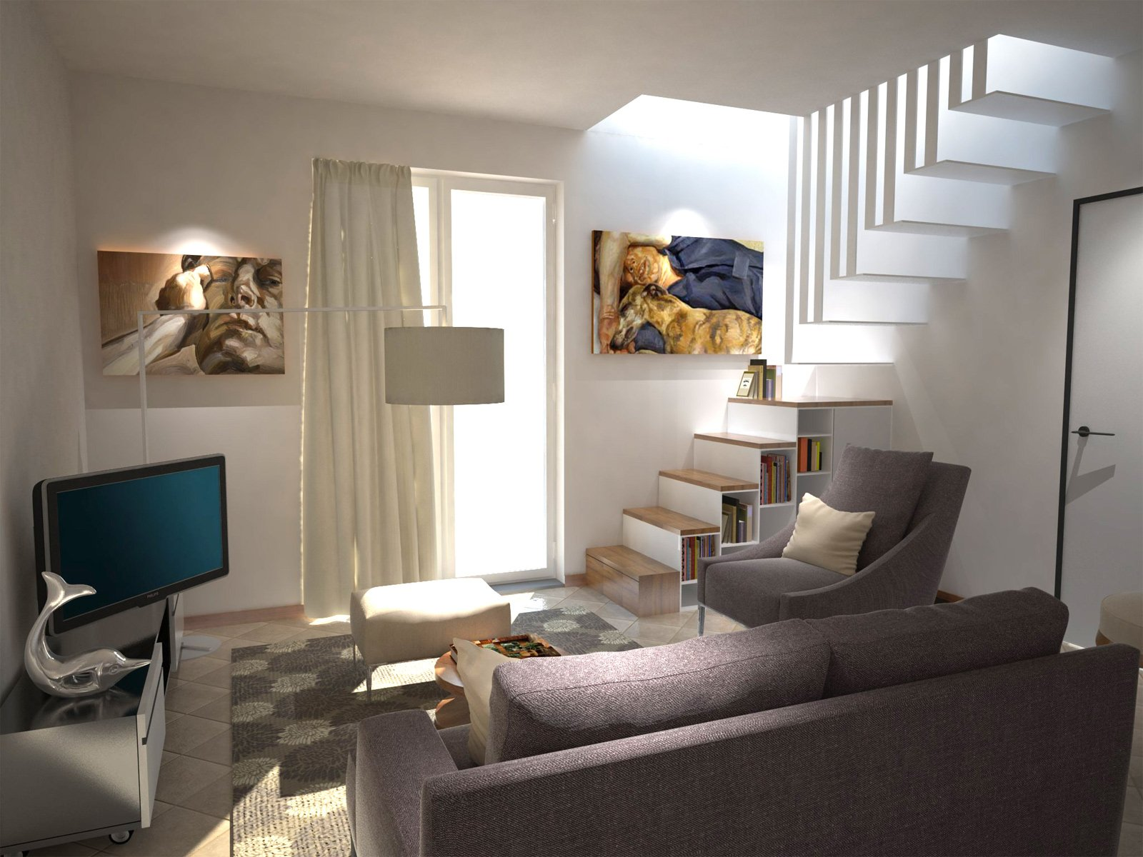 Arredare un soggiorno con tante aperture sulle pareti for Mensole per quadri