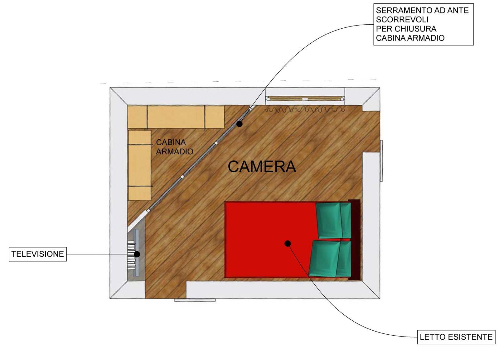 Camera per una ragazza con cabina armadio e tv cose di - Soluzioni per cabina armadio ...