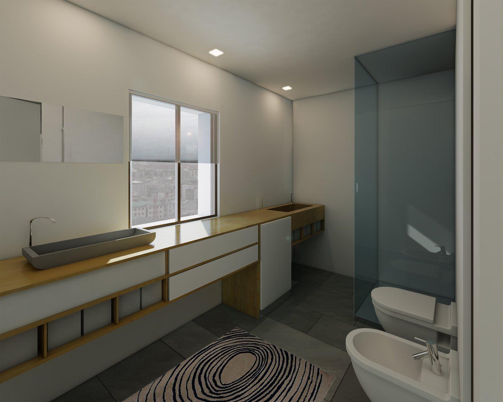 Bagno con zona lavanderia nascosta cose di casa - Mobile bagno con lavatrice incassata ...