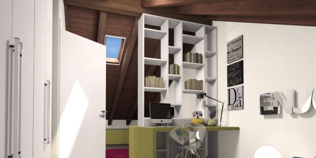 La mansarda da dividere in camera e studio