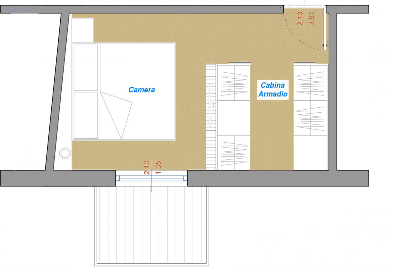 Sfruttare bene la camera irregolare cose di casa - Progetto camera da letto con cabina armadio ...