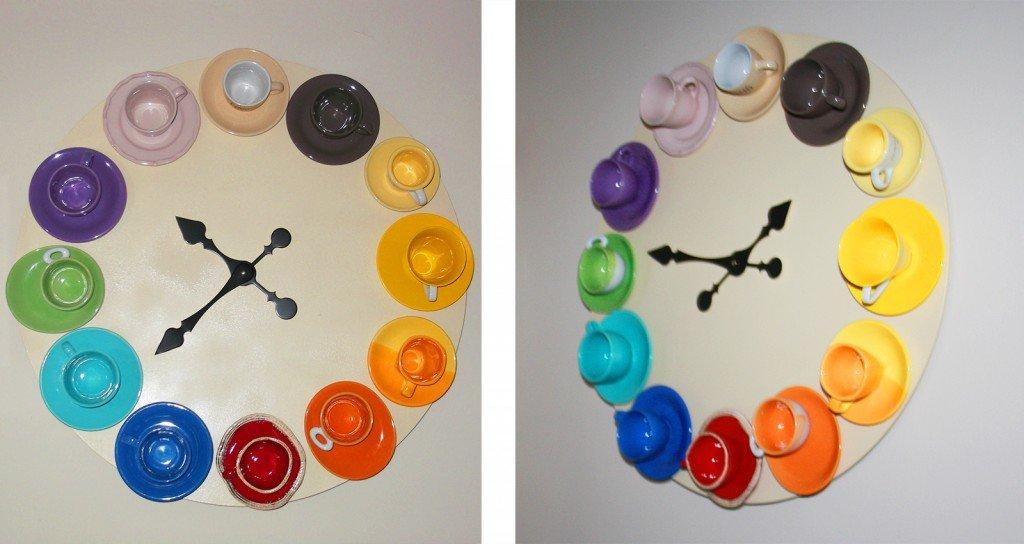 L 39 ora del caff un orologio da parete con tazzine - Applique da parete fai da te ...