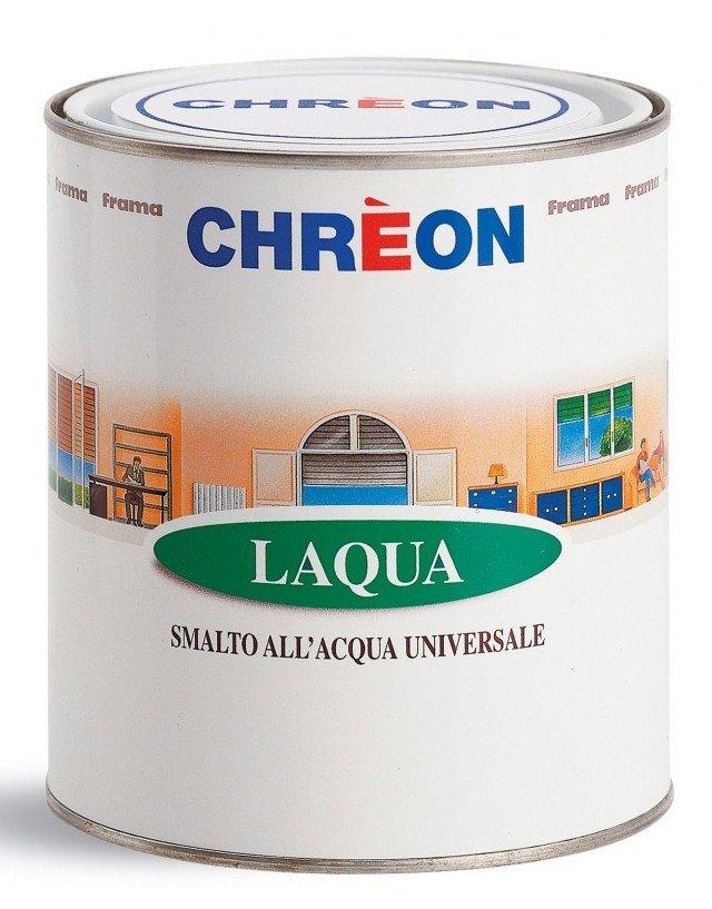 Lo smalto all'acqua, per uso universale è inodore e a rapida essiccazione; disponibile in più colori, in latta da 0,7 l, esclusa Iva, costa 18,78 euro Laqua di Chrèon ]