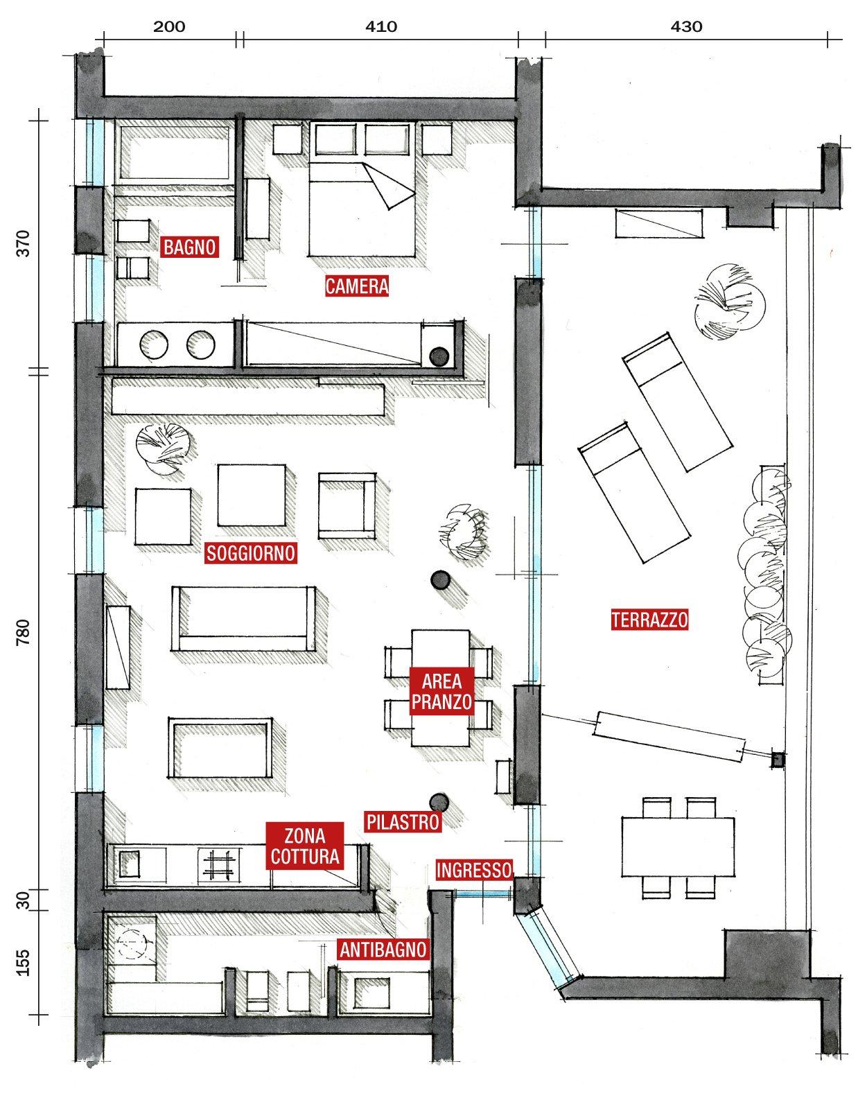 80 mq una casa per due perfetta per fare inviti cose for Piani a forma di l per piccoli lotti