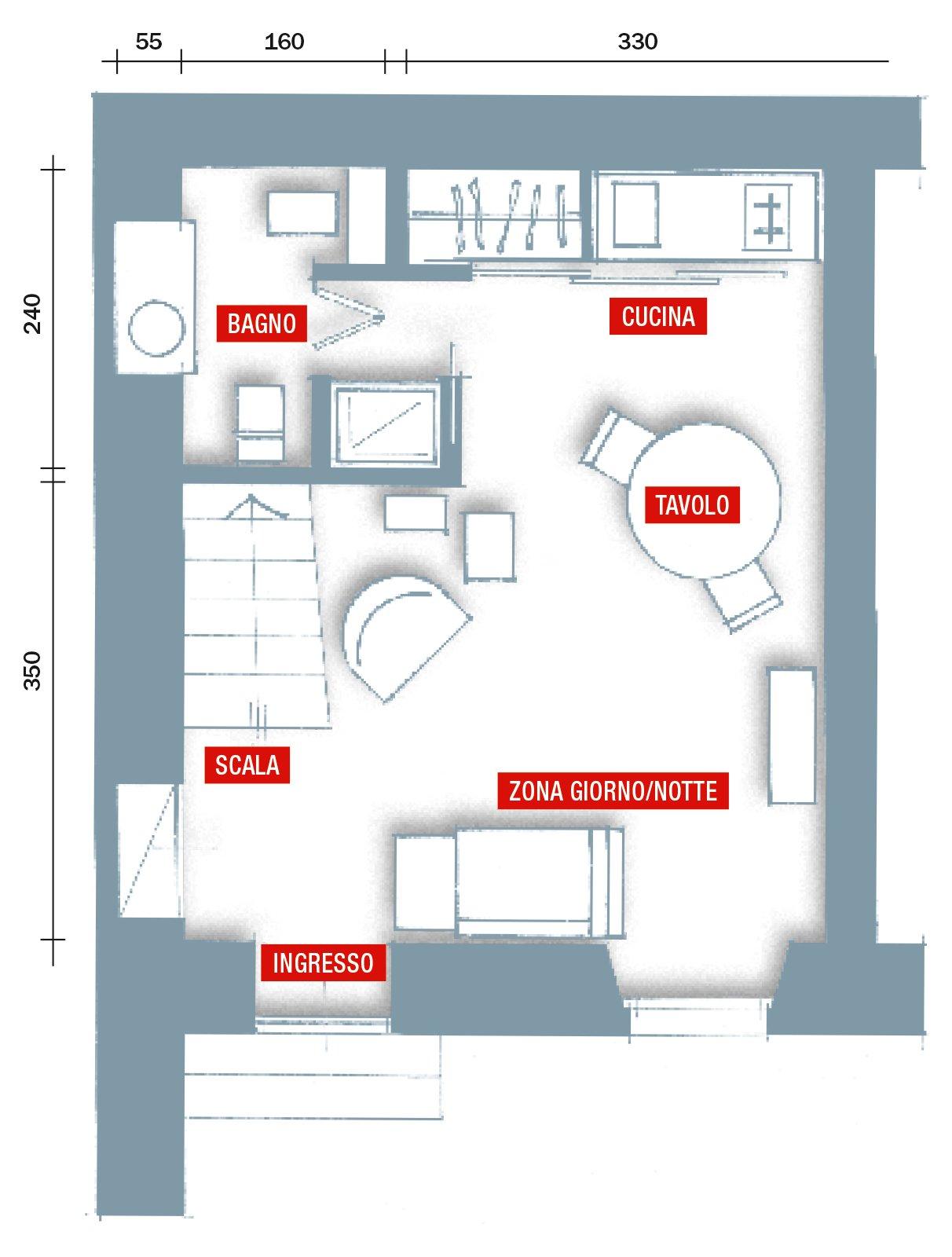 Monolocale una casa di 30 mq risolta al centimetro cose for Esempi di disegni di planimetrie della casa