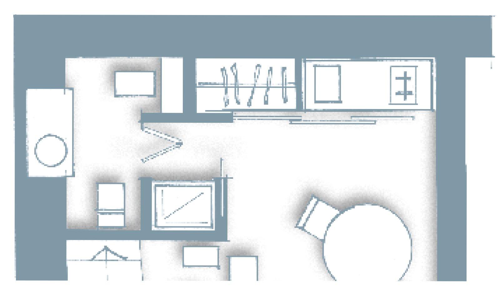 Monolocale una casa di 30 mq risolta al centimetro cose for Planimetrie con stanze segrete