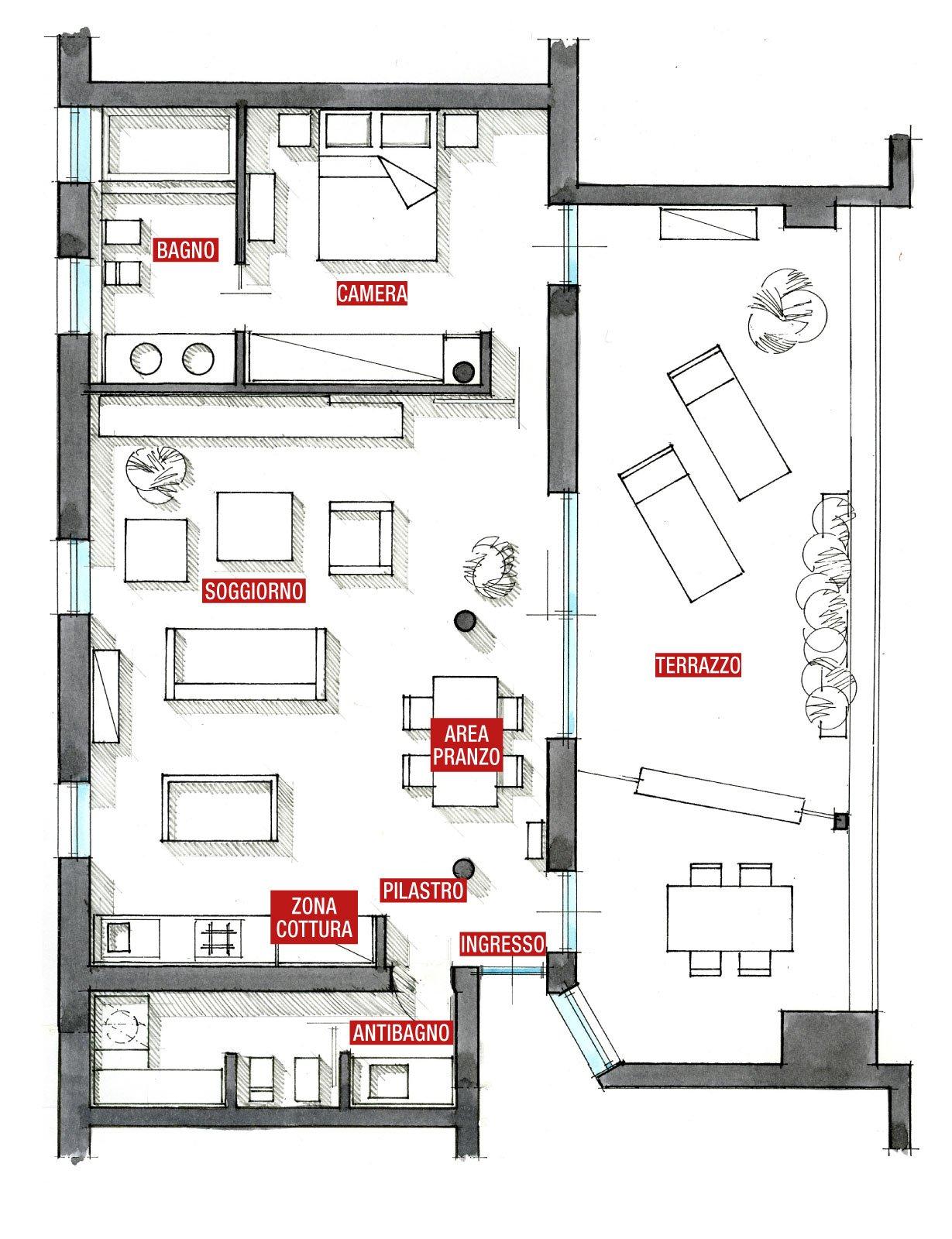 80 mq una casa per due perfetta per fare inviti cose for Piani di casa tridimensionali