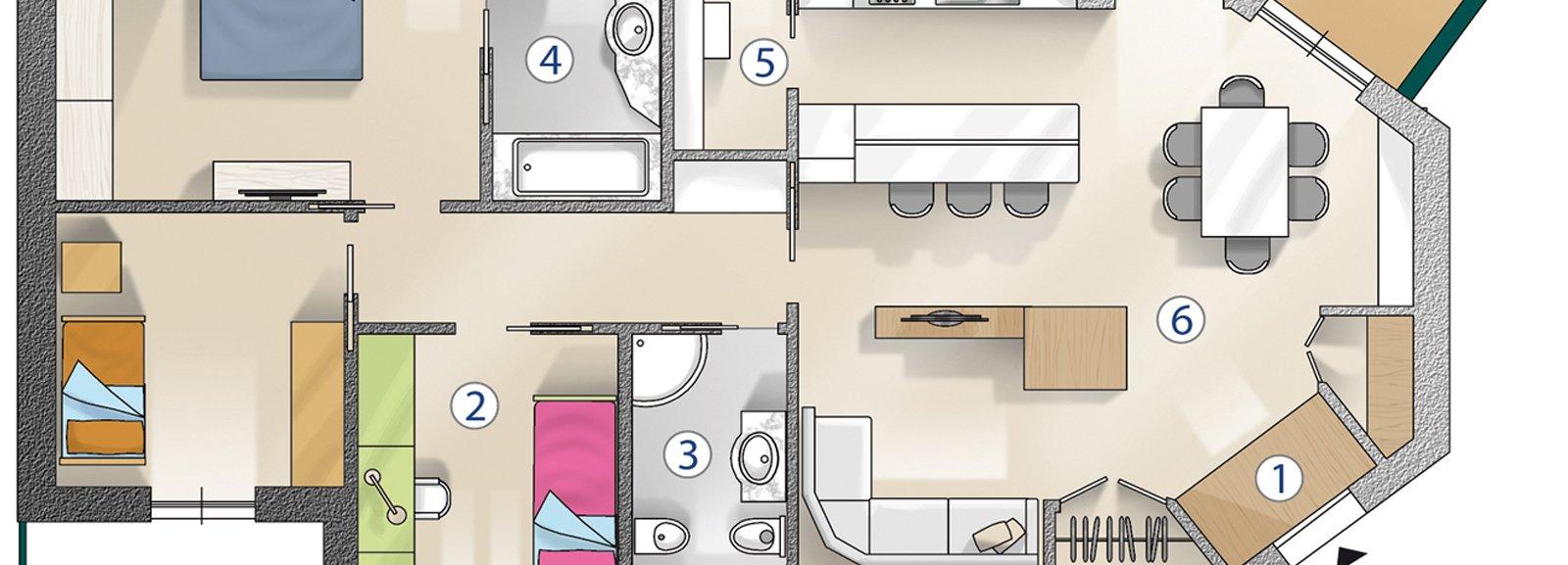 Ricavare la terza camera cose di casa - Progetto casa 100 mq ...