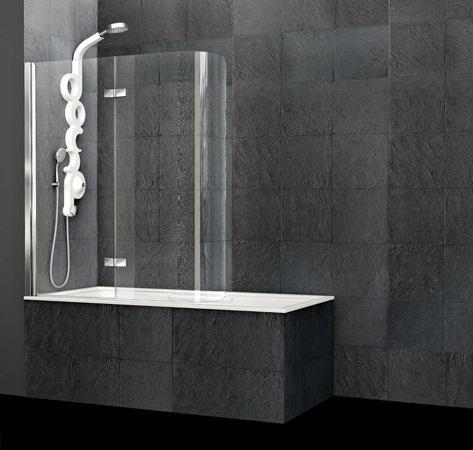il sopravasca sei di arblu con anta pieghevole realizzato in vetro trasparente curvato con spessore