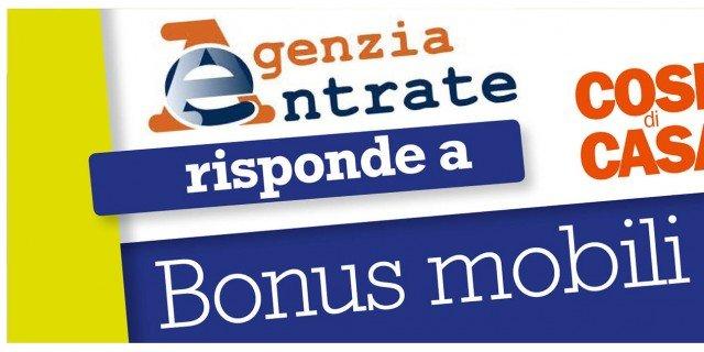 Bonus mobili 2013: l'Agenzia delle Entrate risponde