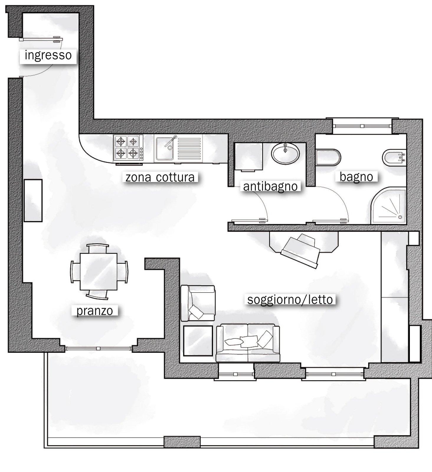 44 mq una stanza in pi in casa cose di casa for Foto di cucina e soggiorno a pianta aperta