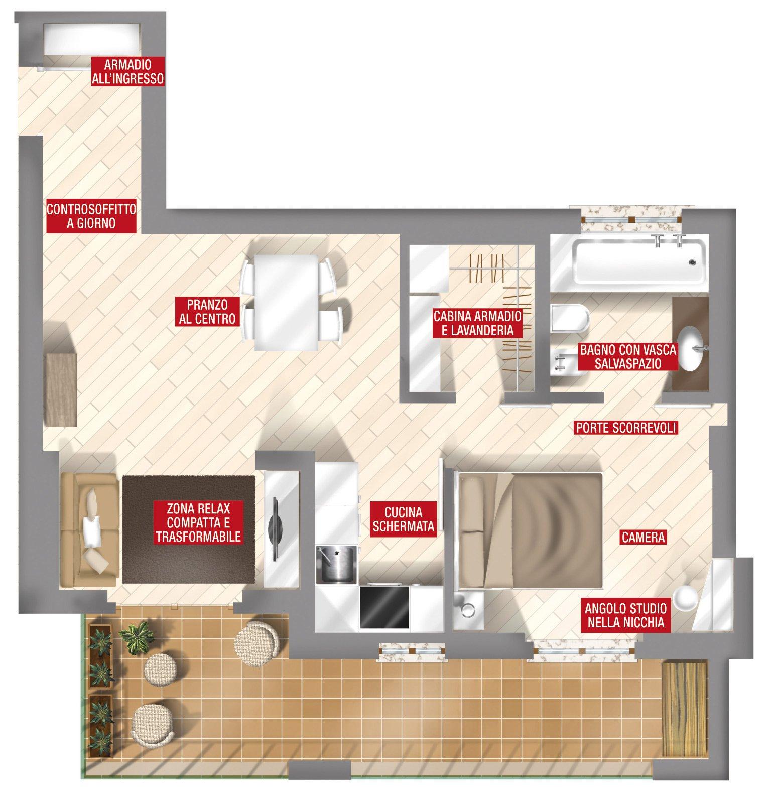 44 mq una stanza in pi in casa cose di casa for I piani di casa