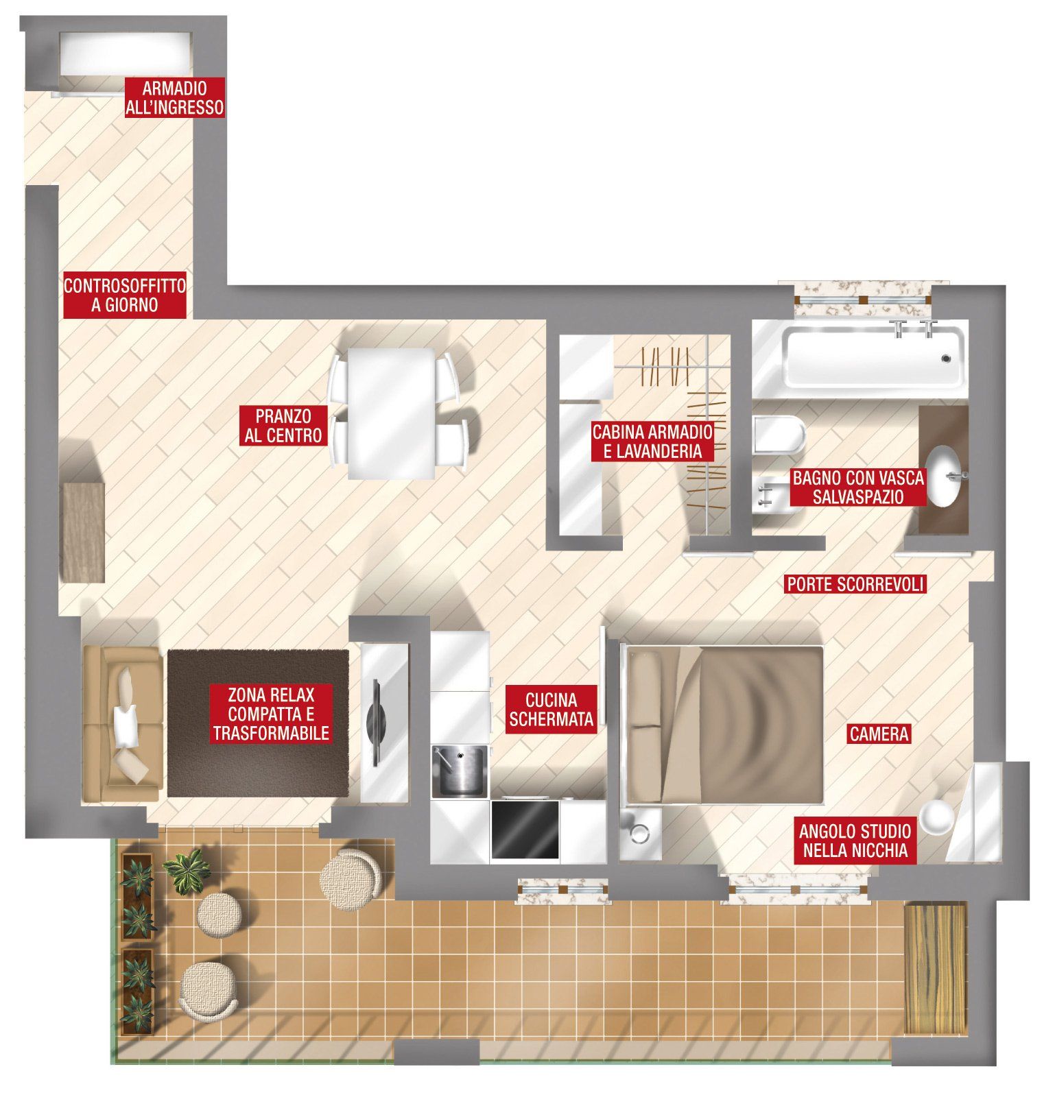 44 mq una stanza in pi in casa cose di casa for Creare una pianta per una casa