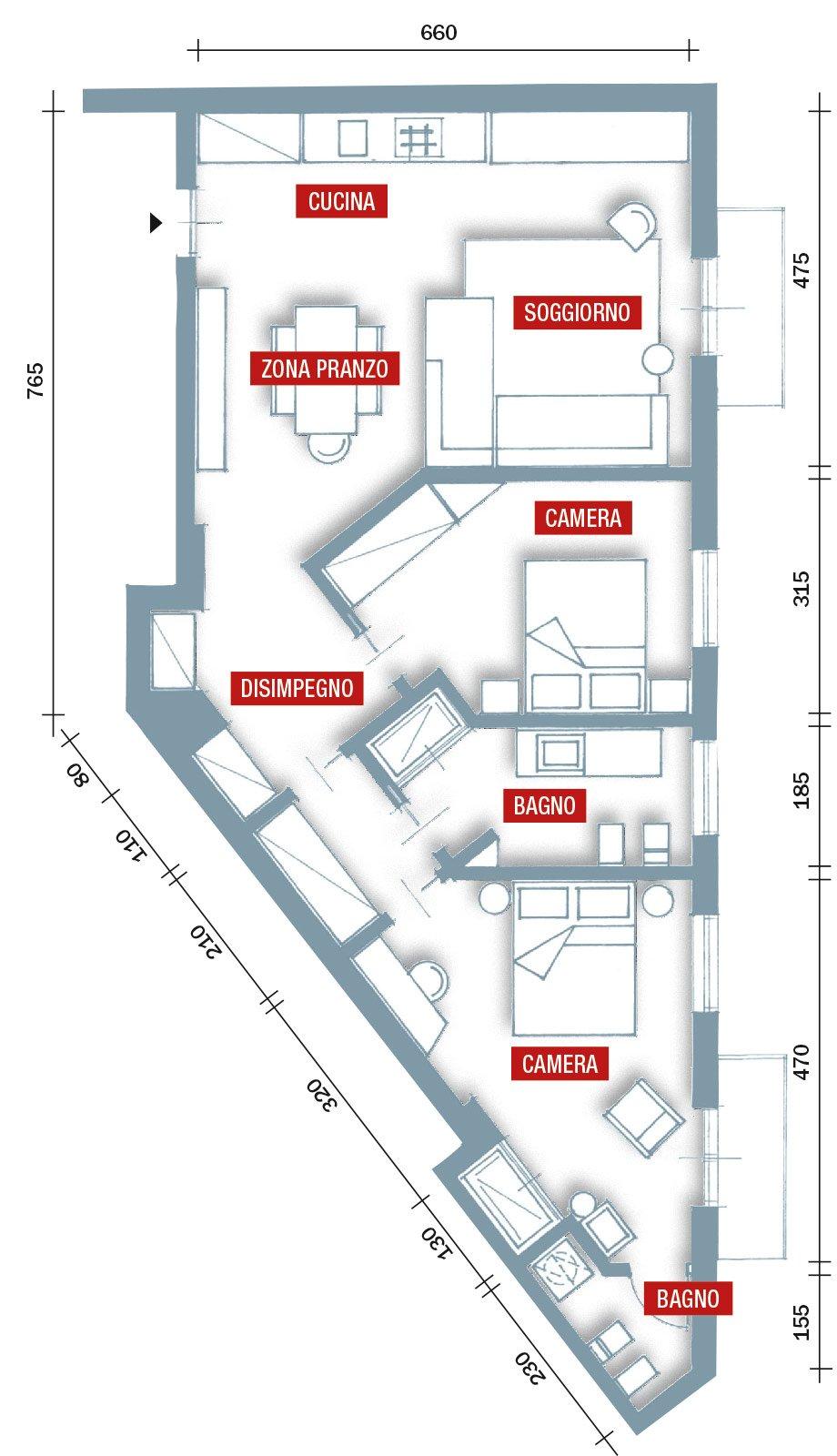 75 mq 10 idee per far sembrare pi grande la casa cose for Planimetrie della casa con seminterrato di sciopero
