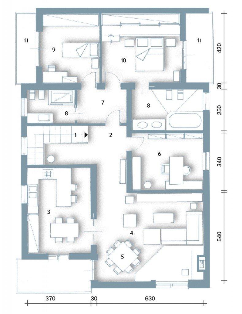 Una casa moderna su livelli sfalsati cose di casa for Casa moderna pianta