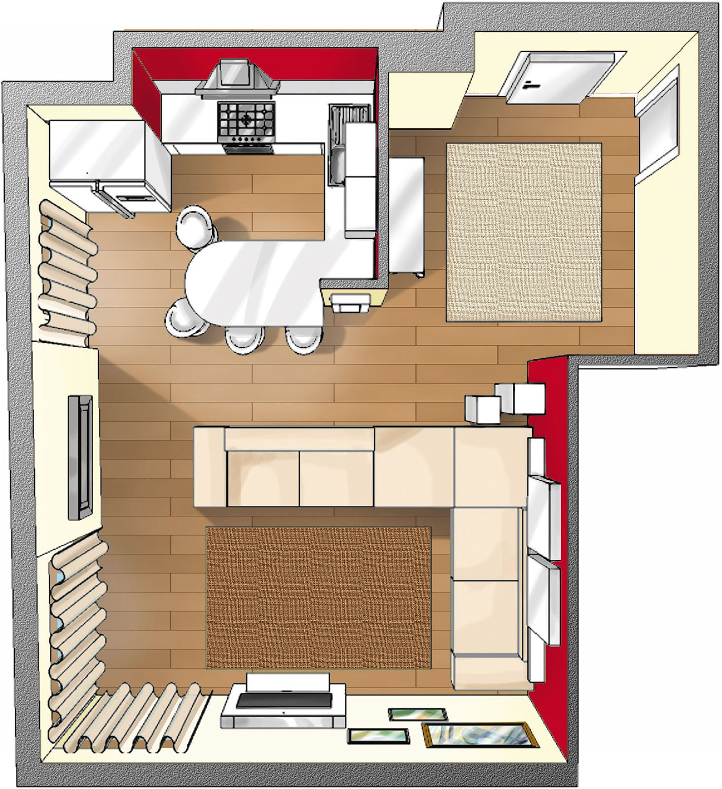 Ingresso aperto sul soggiorno idee da copiare cose di casa for Foto di cucina e soggiorno a pianta aperta